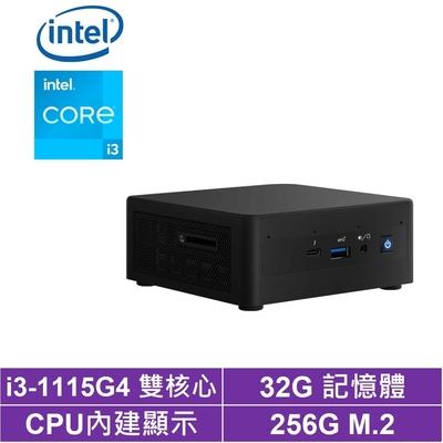 Intel NUC平台i3雙核{黑風暗魂} 迷你電腦(i3-1115G4/256G M.2 SSD)