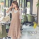 東京著衣-yoco 韓妞必備蕾絲兩件式套裝魚尾洋裝-S.M.L(共二色)