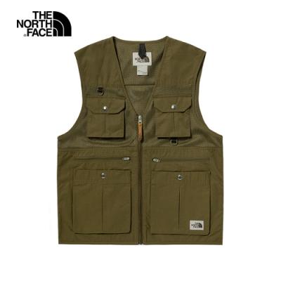 The North Face北面男款綠色防潑水多口袋工裝背心 4UBV37U