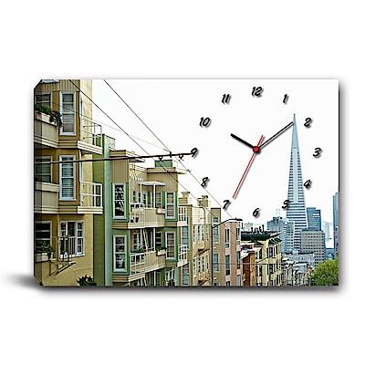 美學365-單聯式橫幅 掛鐘無框畫-城市建築-60x40cm