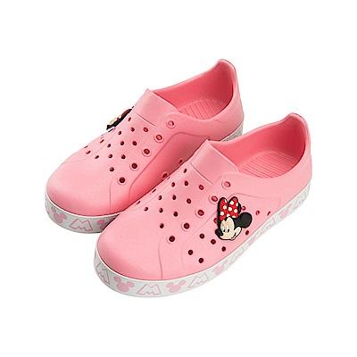 迪士尼 米妮 雙色經典造型 防水休閒鞋-粉