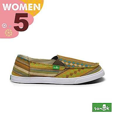 SANUK 女款US5 刺繡印花圖騰休閒鞋(芥末黃)