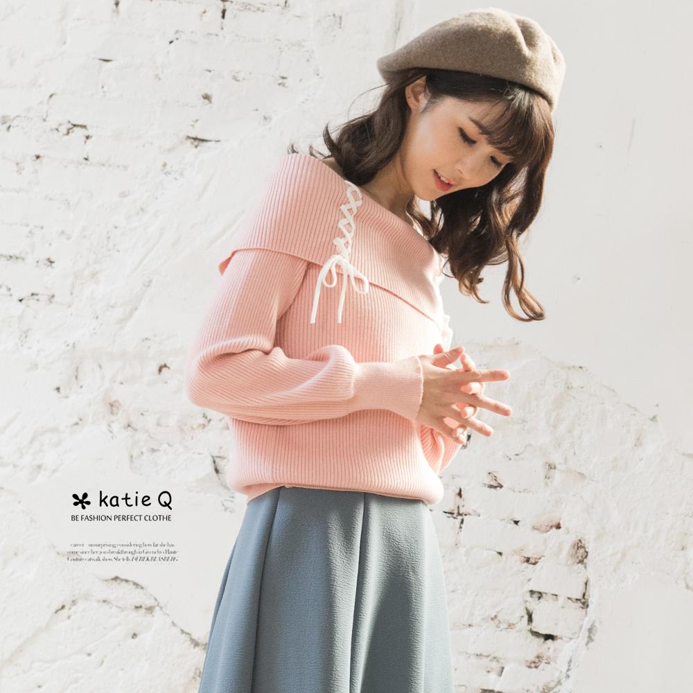 KatieQ 平口領綁帶針織上衣-粉紅