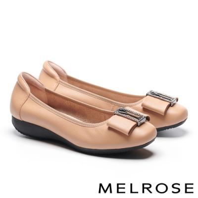 低跟鞋 MELROSE 氣質高雅蝴蝶結全真皮方頭低跟鞋-杏