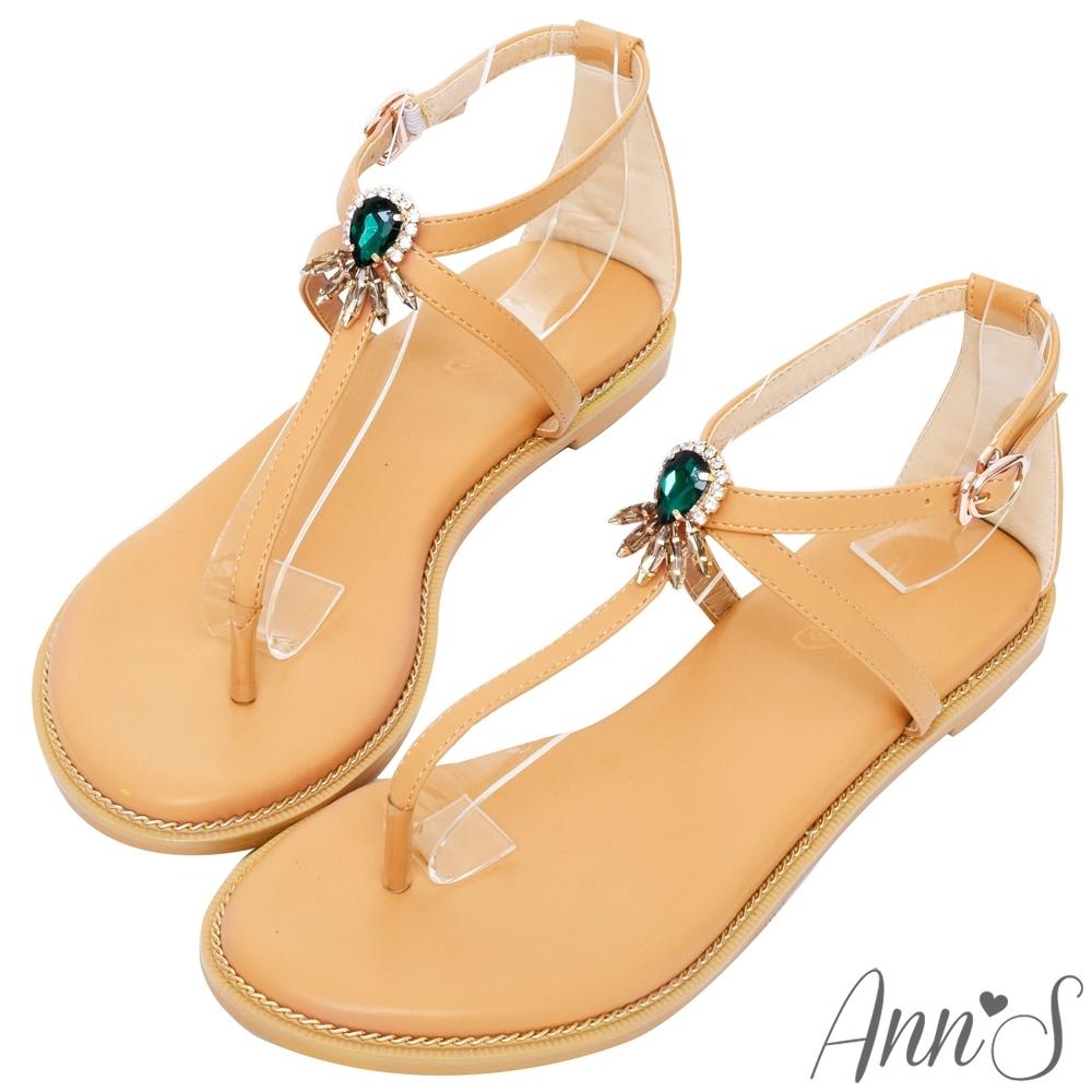 Ann'S孔雀綠寶石T字交叉平底涼鞋-杏