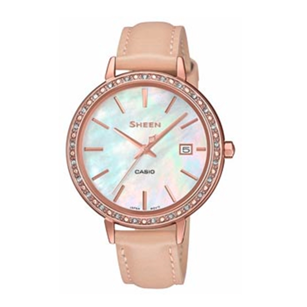 CASIO卡西歐 典雅秀氣珍珠母錶面皮革女錶(SHE-4052PGL-7B)-粉x36mm