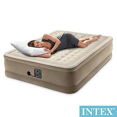 INTEX 超厚絨豪華內建電動幫浦雙人加大充氣床-寬152cm(64427)