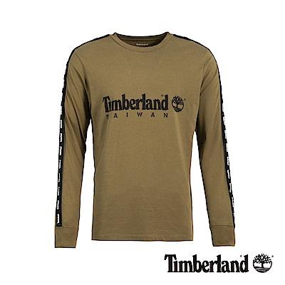 Timberland 男款卡其綠台灣限定LOGO織帶長袖T恤|A1YF9