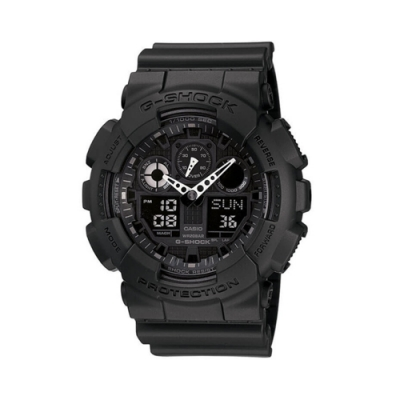 CASIO 卡西歐 G-SHOCK系列 個性機械感三眼雙顯電子錶-黑x白/55.0mm