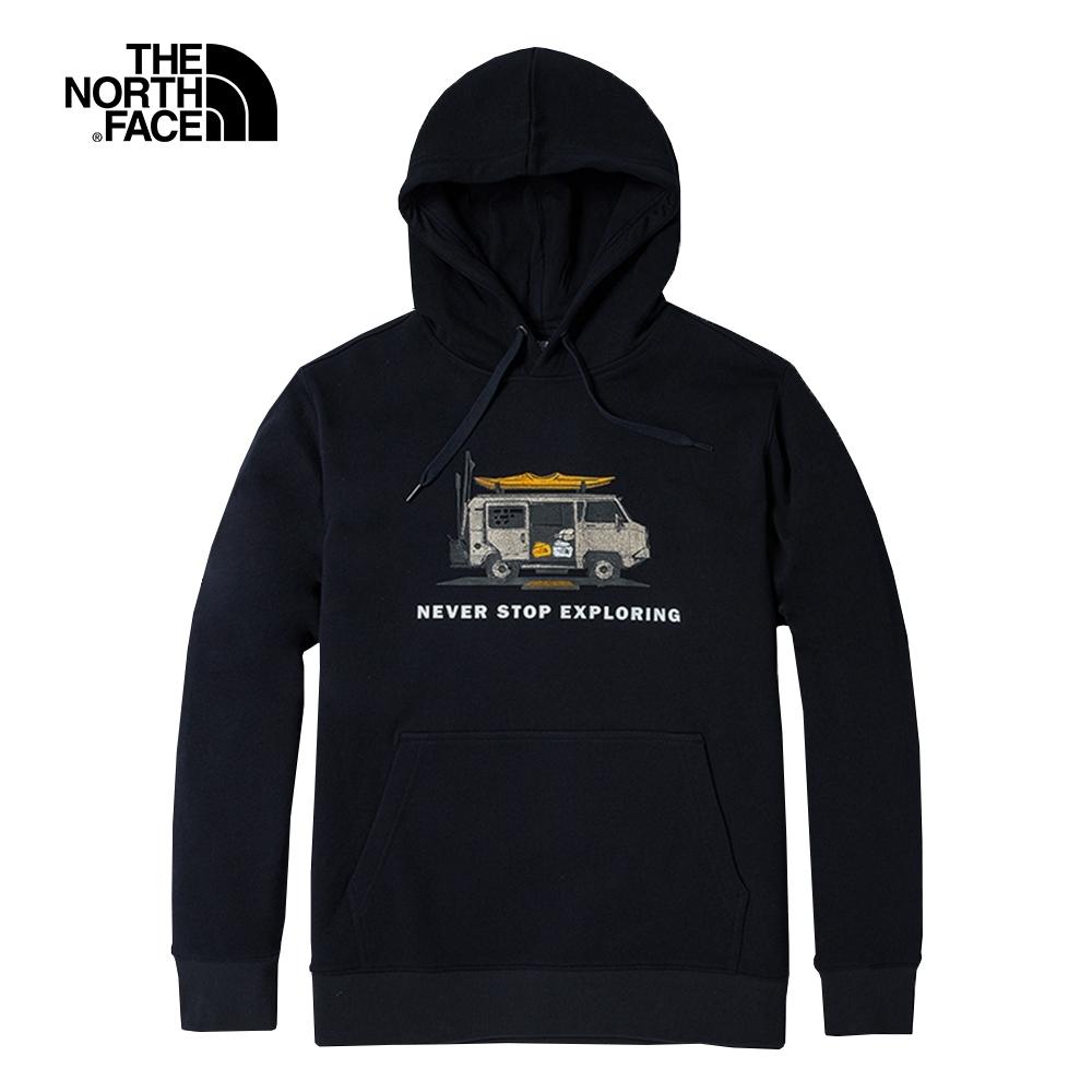 The North Face北面男女款深藍色胸前印花連帽T恤|5JVORG1
