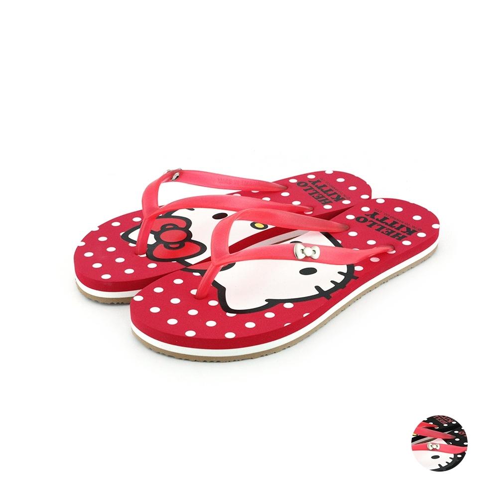 HELLO KITTY艾樂跑女鞋-滿版夾腳拖鞋-紅/黑(920104)