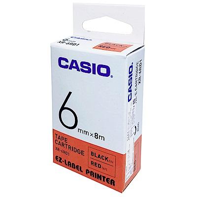 CASIO 標籤機專用色帶-6mm【共有5色】紅底黑字XR-6RD1