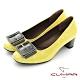 【CUMAR】復古小方頭皮帶釦裝飾粗跟高跟鞋-黃漆 product thumbnail 1