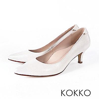 KOKKO - 華麗邂逅尖頭輕奢羊皮高跟鞋- 幸福白