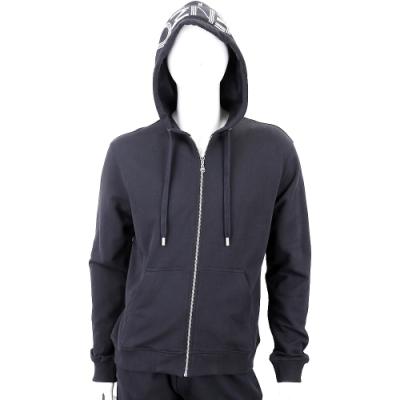 KENZO 幾何字母LOGO黑色棉質連帽運動外套(男款)