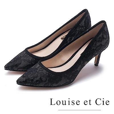 Louise et Cie 性感削邊流線型尖頭高跟鞋-黑色