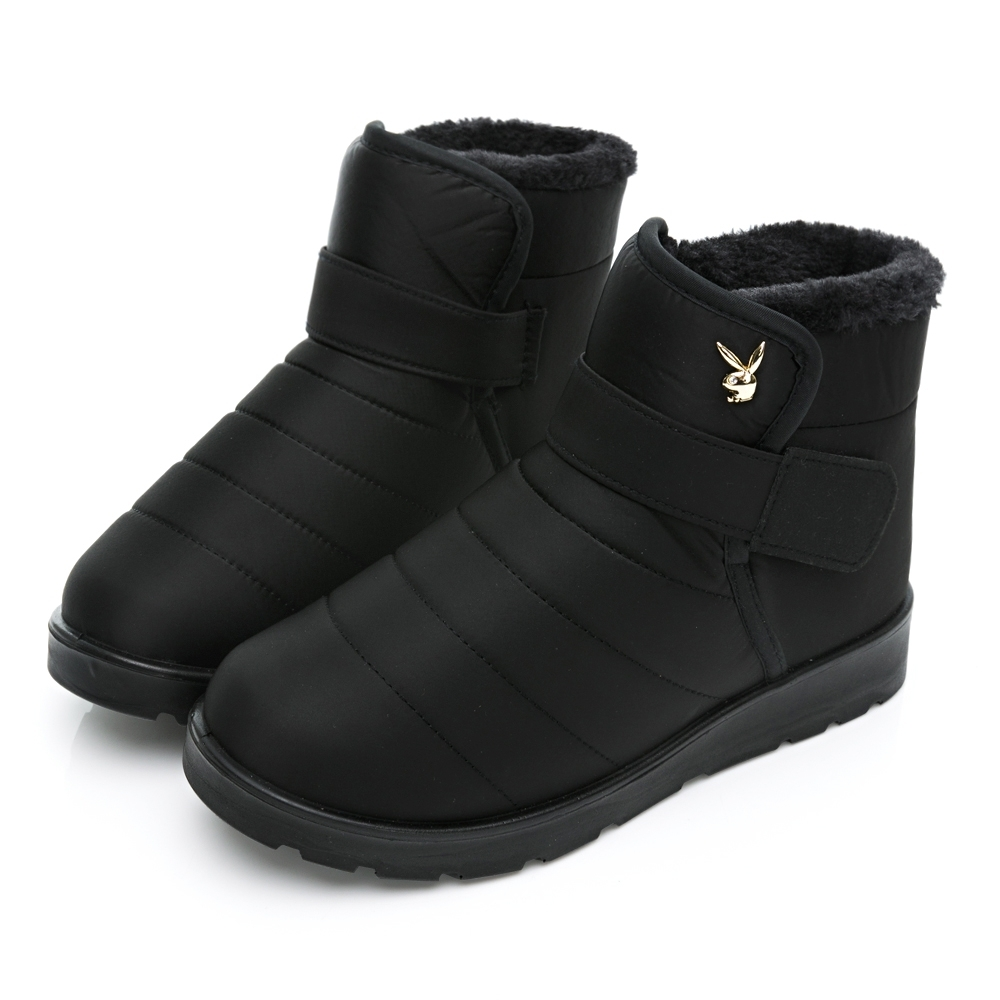 PLAYBOY 暖感防潑水短筒機能雪靴-黑-Y6765CC