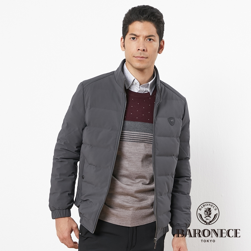 BARONECE 百諾禮士休閒商務 男裝 帥氣立領羽絨夾克外套-灰黑色(1196771-97)