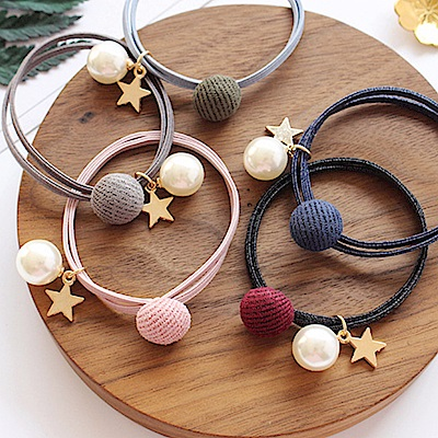 Hera 赫拉 小清新絨球珍珠星星髮圈2入組-3色