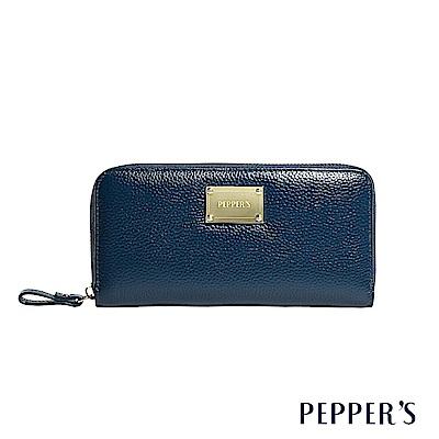 PEPPER`S Doris 牛皮拉鍊長夾 - 午夜藍