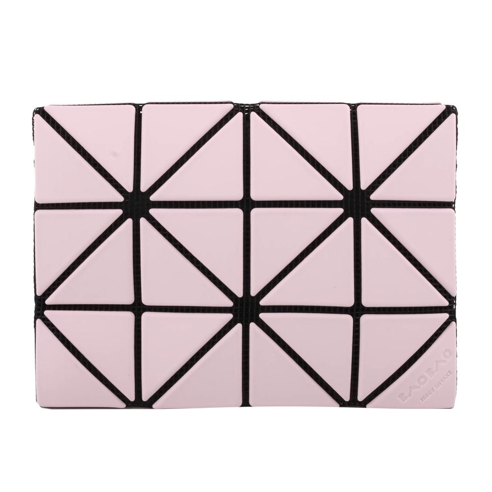 ISSEY MIYAKE  BAOBAO幾何方格雙拼色3x4名片夾/粉X橘粉