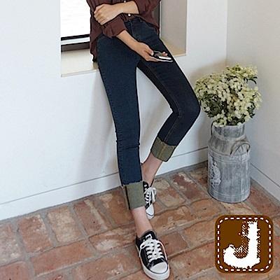 正韓 可折管彈性顯瘦窄管褲-(藍色)100%Korea Jeans