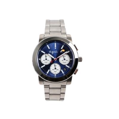 agnes b.三眼計時腕錶-藍x銀/38mm