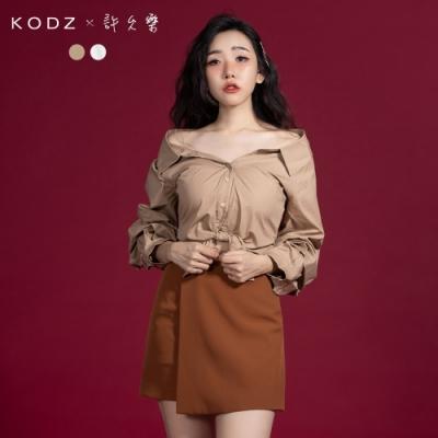 東京著衣-KODZx許允樂 就是不好好穿平口澎湃泡泡袖襯衫-S.M.L(共二色)