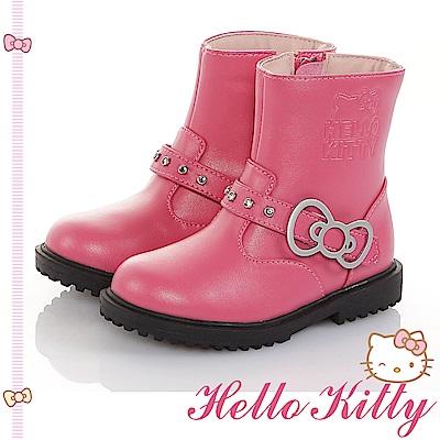HelloKitty童鞋 傳統手工鞋氣質高級超纖皮革防滑靴-桃