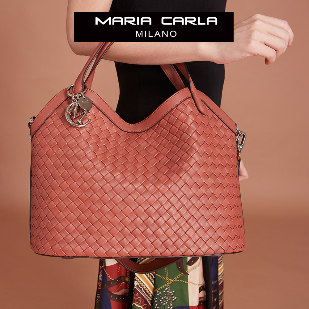 Maria Carla手提側背包-羊皮編織包_完美格調、迷漾輕時尚系列(鮭魚粉)