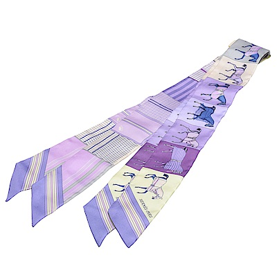 HERMES 愛馬仕馬匹圖案Twilly絲巾領結(粉紫-一組兩條)