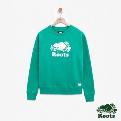 女裝Roots-庫柏海狸刷毛圓領上衣-綠