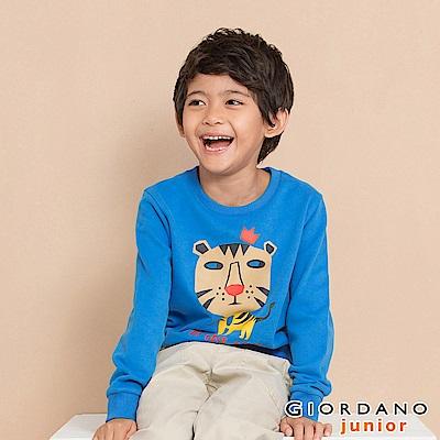 GIORDANO 童裝童趣印花長袖T恤-01 法國藍