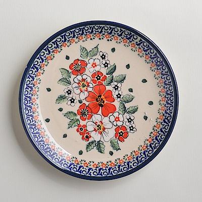 波蘭陶 手工製 紅白彩卉 淺底圓形餐盤19cm