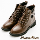River&Moon復古率性皮扣綁帶牛津短靴-咖棕