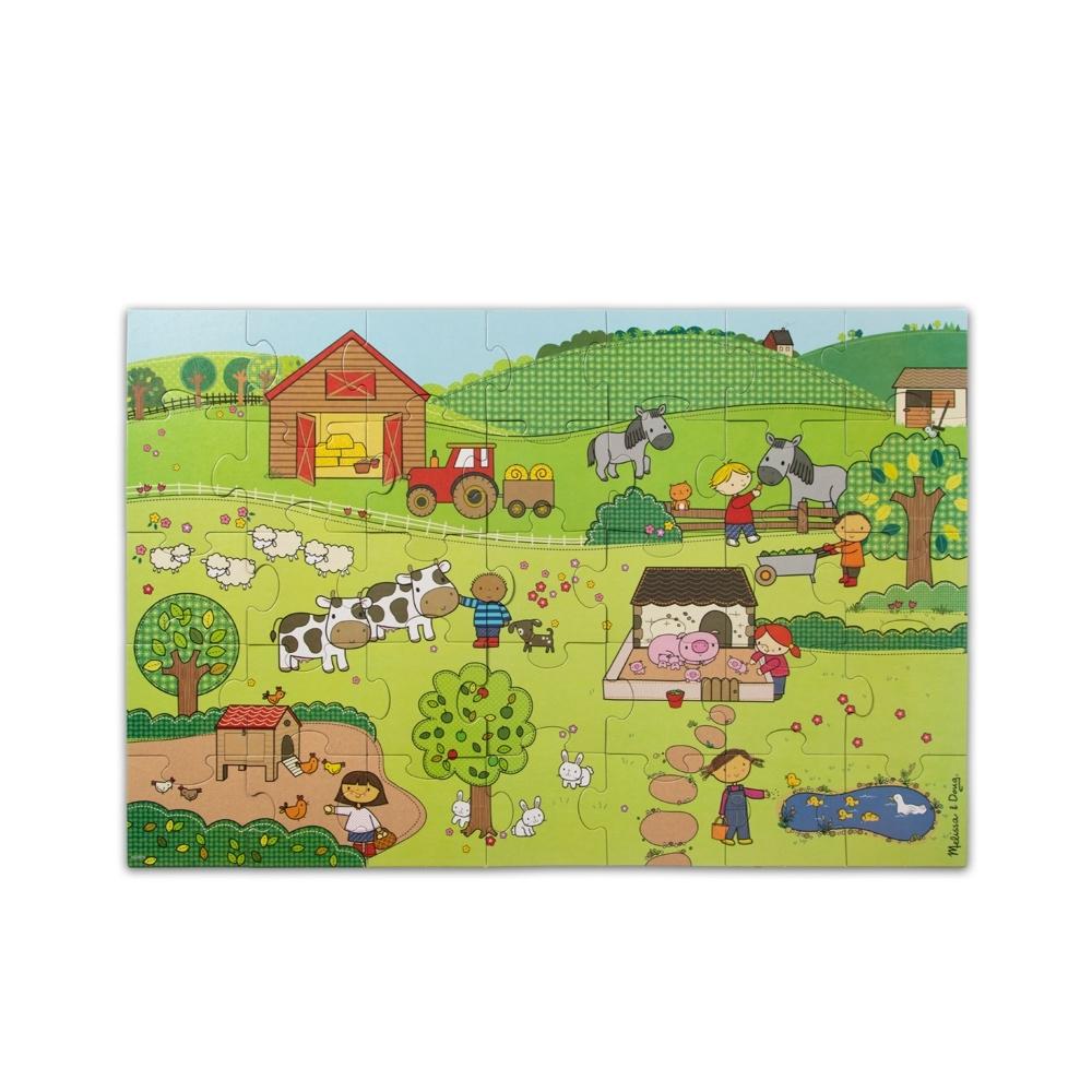 【Melissa & Doug 美國瑪莉莎】Natural Play 大型地板拼圖 - 童趣農場【35片】