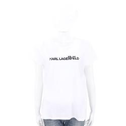 KARL LAGERFELD K/IKONIK 躲貓貓LOGO設計白色棉質T恤