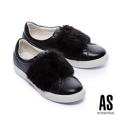 休閒鞋 AS 簡約質感貂毛設計全真皮休閒鞋-黑