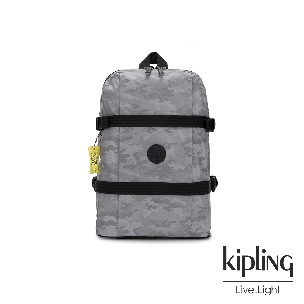 Kipling 夜光霧灰正反雙層收納長形後背包-TAMIKO P