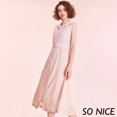 SO NICE復古風翻領拼接蕾絲洋裝