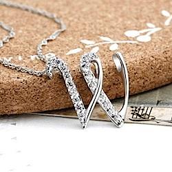 米蘭精品 925純銀項鍊-時尚簡約W英文字母