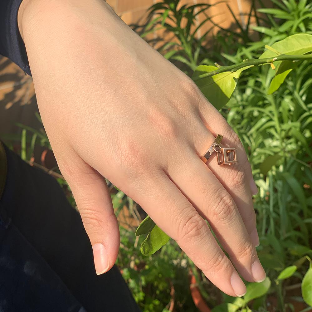 CALVIN KLEIN Da戒指 系列鏤空立體方塊造型玫瑰金戒指-6