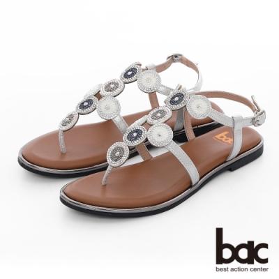 【bac】繽紛曼谷 -波西米亞風格大小圈鑽飾夾腳涼鞋-銀色