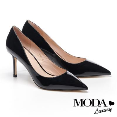 高跟鞋 MODA Luxury 極簡質感純色牛漆皮尖頭高跟鞋-黑