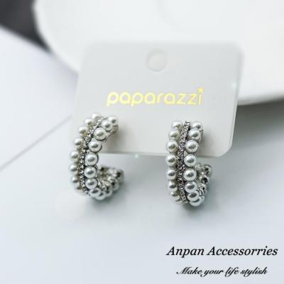 【ANPAN愛扮】韓東大門NYU C型水鑽雙排珍珠925銀針耳釘式耳環-銀色