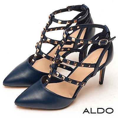 ALDO 原色綴金屬鉚釘尖頭繫帶跟鞋~海軍藍色