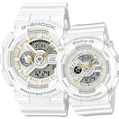 G-SHOCK&BABY-G 聖誕限量對錶-白(LOV-17A-7A)/51+43mm