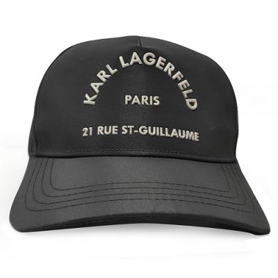 【KARL LAGERFELD 卡爾】205W3406 RUE ST GUILLAUME CAP尼龍棒球帽(黑色)