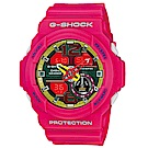 G-SHOCK 桃花盛開玩色雙顯運動錶(GA-310-4A)-桃紅x55mm