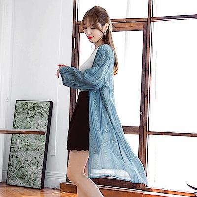 浪漫印花雪紡九分袖長版罩衫/外套-OB大尺碼